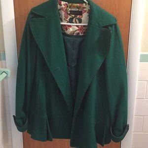 Steve Madden Wool Blend Pea Coat Emerald Green XL